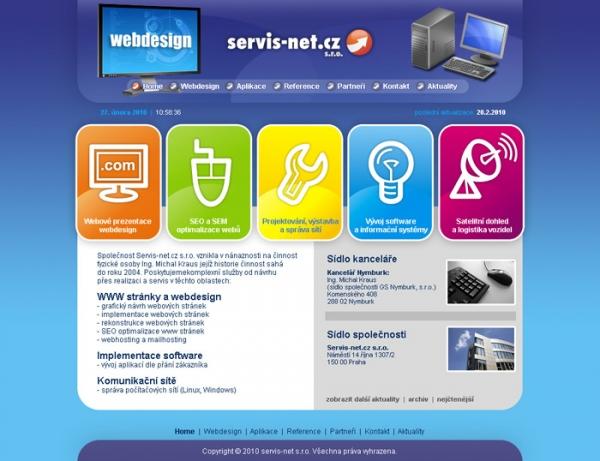 redesign stránek SERVIS-NET