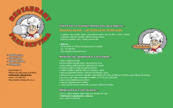 design webu Restaurant pana Septima