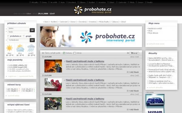 návrh designu www.pro-bohate.cz
