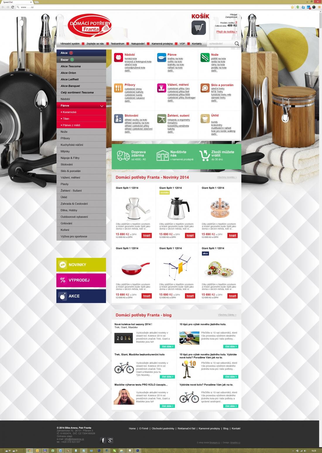 úprava designu webu Domácí potřeby Franta