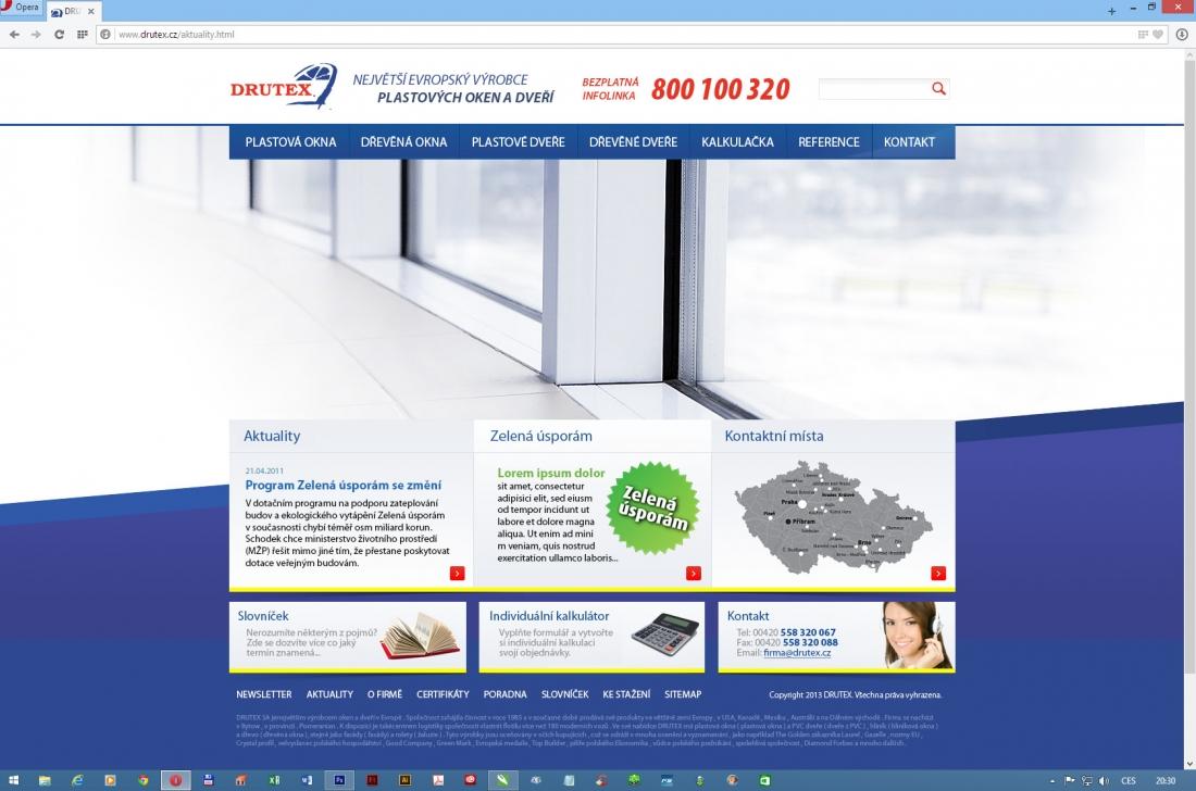 návrh designu dle centrálního webu DRUTEX