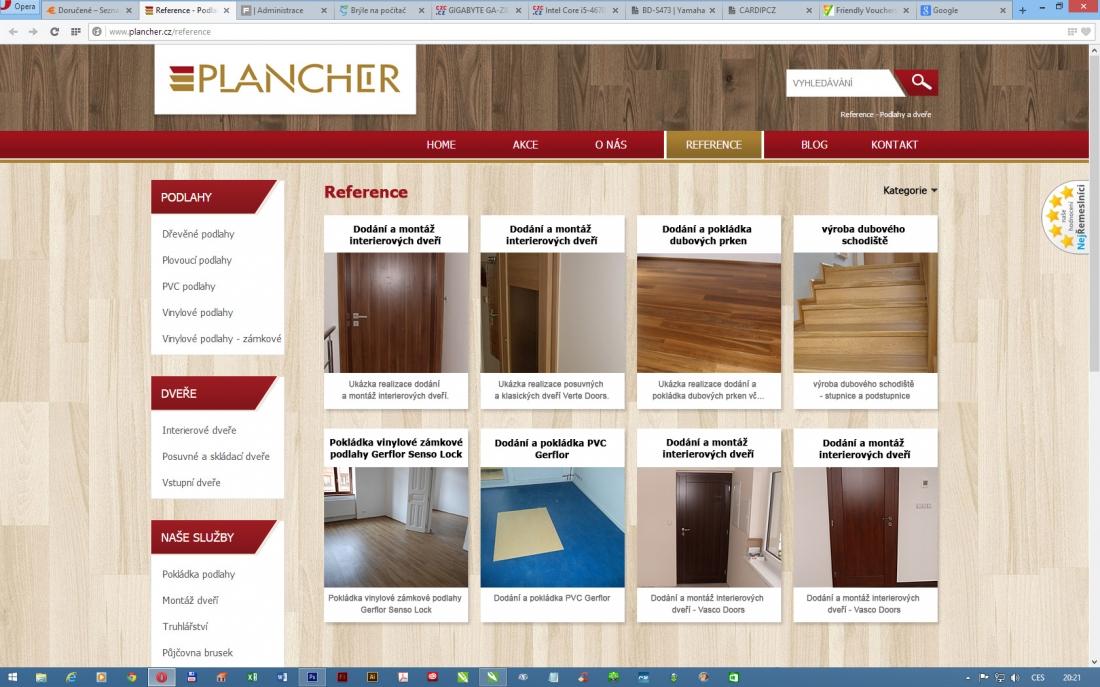úprava menu na webu PLANCHER