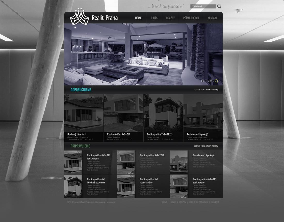 návrh designu webu REALIT PRAHA