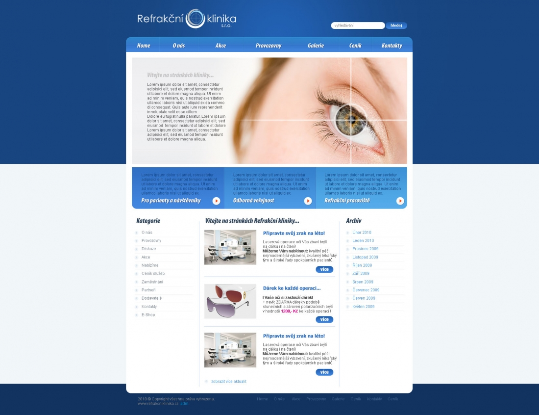 návrh webu Refrakční klinika