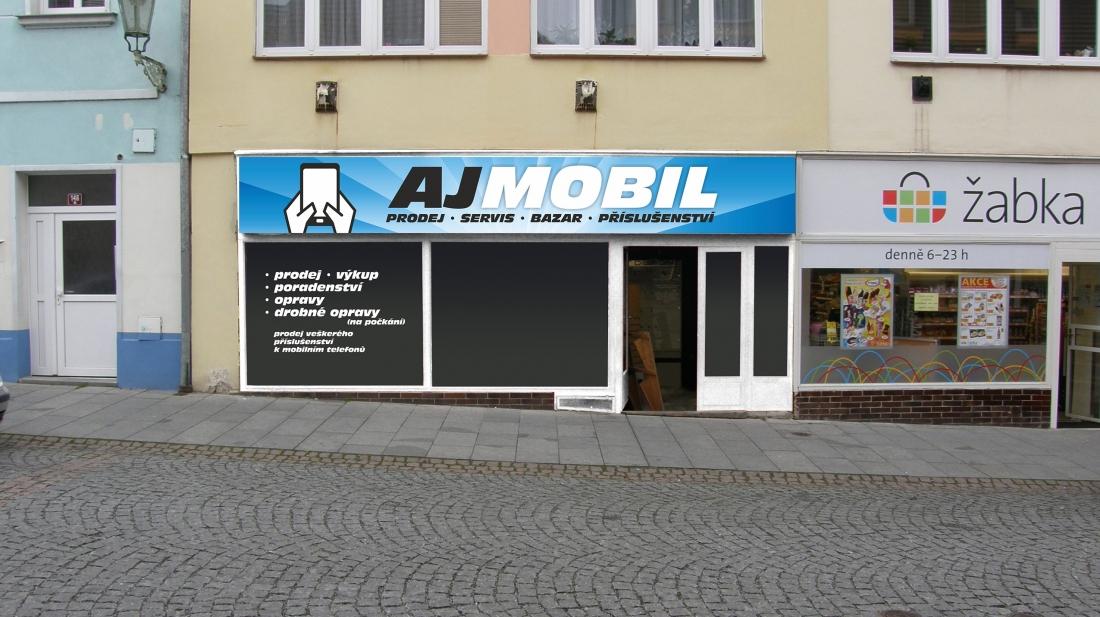 AJ MOBIL - návrh polepu výlohy